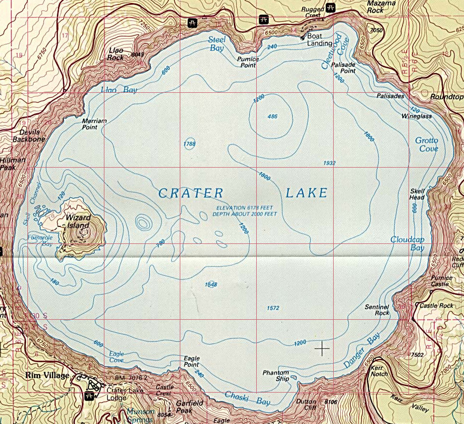 Crater Lake Topographic Map.Crater Lake